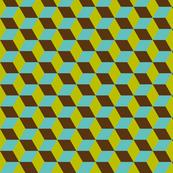 Geometric Pattern: 3D Cube: Blue/Green