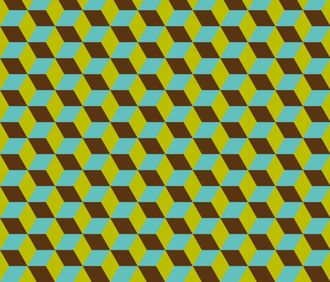 Geometric Pattern: 3D Cube: Blue/Green fabric by red_wolf on Spoonflower - custom fabric