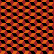 Geometric Pattern: 3D Cube: Red/Orange