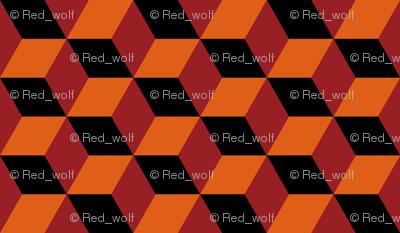 Geometric Pattern: 3D Cube: Red/Orange