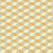 Geometric Pattern: 3D Cube: Tan/Orange