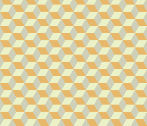 Geometric Pattern: 3D Cube: Tan/Orange fabric by red_wolf on Spoonflower - custom fabric