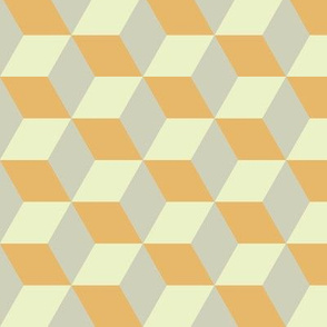 Geometric Pattern: 3D Cube: Tan/Orange