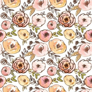 Mustard Pink and Blush Fall Floral Watercolor
