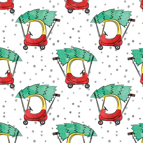 kids car with Christmas tree - watercolor w/ snow fabric by littlearrowdesign on Spoonflower - custom fabric