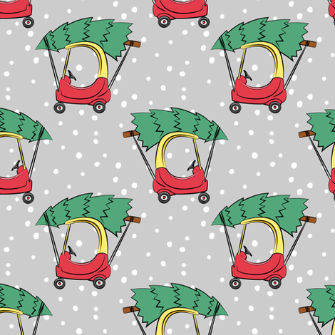 kids car with Christmas tree on grey w/ snow fabric by littlearrowdesign on Spoonflower - custom fabric