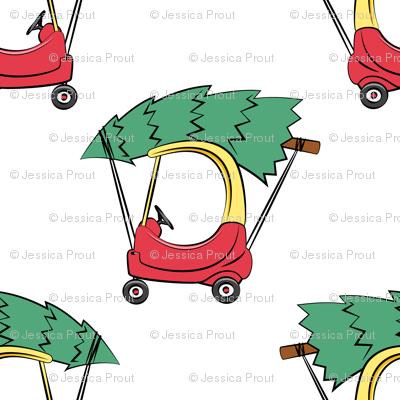 kids car with Christmas tree