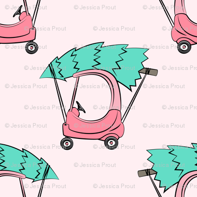 kids car with Christmas tree on pink