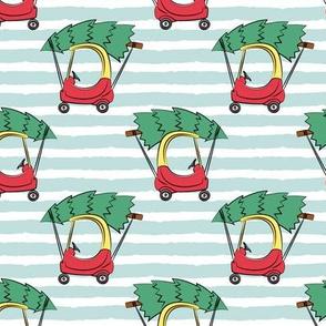 kids car with Christmas tree on blue stripes