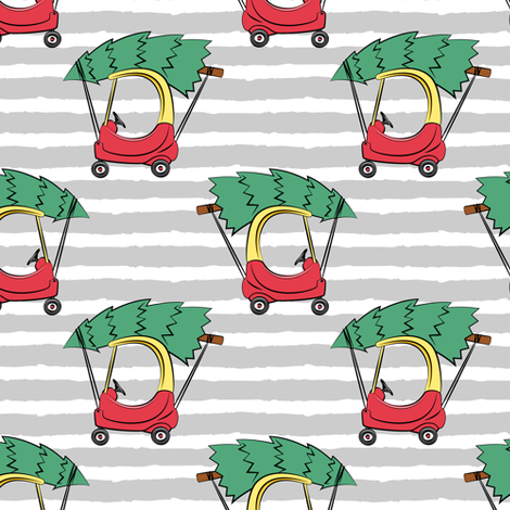 kids car with Christmas tree on grey stripes fabric by littlearrowdesign on Spoonflower - custom fabric