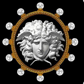 pearls gold medallions frames borders baroque rococo Versace inspired medusa inspired gorgons Greek Greece Mythology monsters