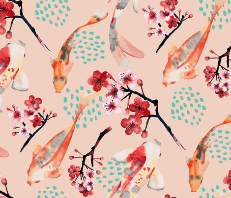 Japanese Garden fabric by limezinniasdesign on Spoonflower - custom fabric