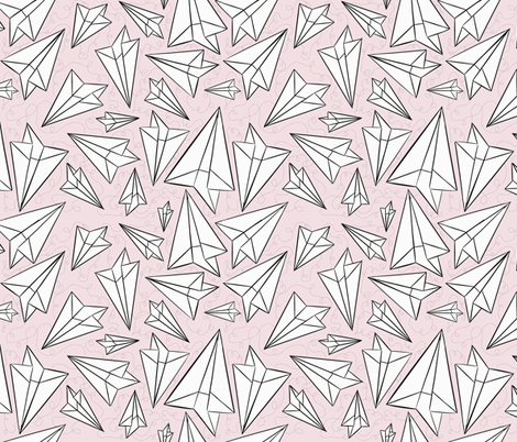 Paper Airplanes Blush fabric by beththompsonart on Spoonflower - custom fabric