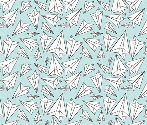 Paper Airplanes Mint fabric by beththompsonart on Spoonflower - custom fabric