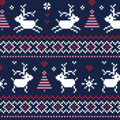 christmas knits red pink on navy no2 reindeer