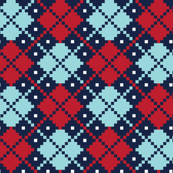 christmas knits red blue on navy no3 argyle