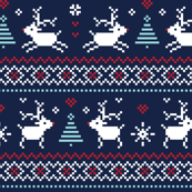 christmas knits red blue on navy no2 reindeer