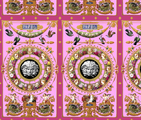1 medusa cherubs angels birds gold flowers floral leaves leaf cameo men women portraits acanthus jewels gems pearls versace inspired wreaths borders frames squirrels pigeons doves baroque rococo pink fabric by raveneve on Spoonflower - custom fabric
