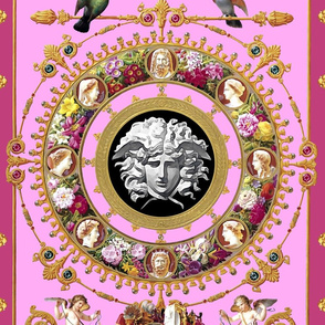 medusa cherubs angels birds gold flowers floral leaves leaf cameo men women portraits acanthus jewels gems pearls versace inspired wreaths borders frames squirrels pigeons doves baroque rococo pink