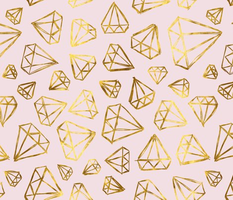 Rough Diamonds Faux Gold Blush fabric by beththompsonart on Spoonflower - custom fabric