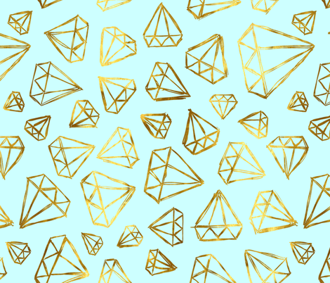Rough Diamonds Gold Mint fabric by beththompsonart on Spoonflower - custom fabric