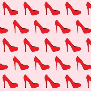 high heels - red on pink