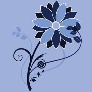Stylized Flower - 12in (blue)