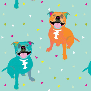 Happy Staffy LARGE / staffordshire bull terrier party bright funny smiling dogs