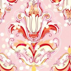 Delicate bokeh damask in fairy blush