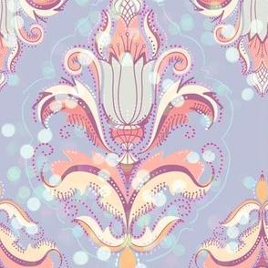 Delicate bokeh damask in lavender sprinkles