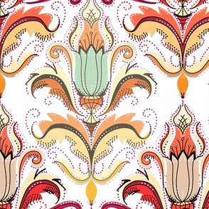 Autumn damask peach and white