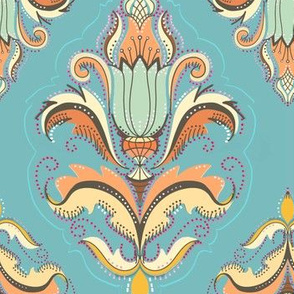 Autumn damask on chalky teal