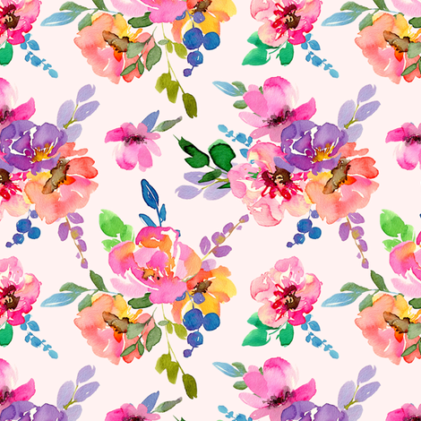 Watercolor ink purple bouquets flowers fabric by graphicsdish on Spoonflower - custom fabric