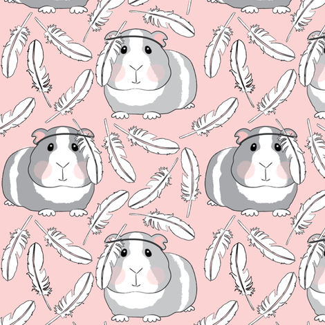 guinea-pigs-with-feathers on pink fabric by lilcubby on Spoonflower - custom fabric