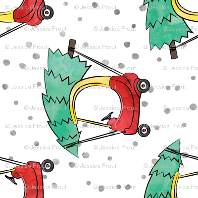 (large scale) kids car with Christmas tree - watercolor w/ snow (90)