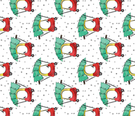 (large scale) kids car with Christmas tree - watercolor w/ snow (90) fabric by littlearrowdesign on Spoonflower - custom fabric