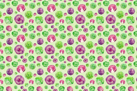 lettuce and cabbage pattern on green fabric by danielleandco on Spoonflower - custom fabric
