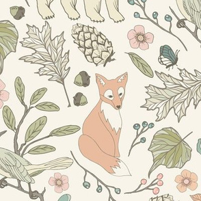 Autumn Pastel - Large - Cream … woodland, baby, nursery, pastel, bear, fox, bird, moth, butterfly, blush, peach, aqua, mint, toile