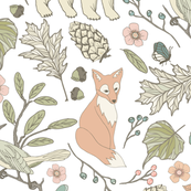 Autumn Pastel - White … woodland, baby, nursery, bear, fox, bird, butterfly, moth, blush, aqua, toile