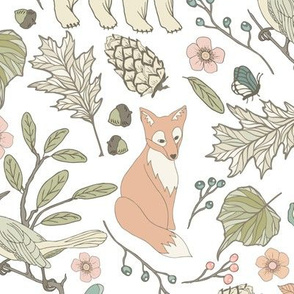 Autumn Pastel - Large - White … woodland, baby, nursery, bear, fox, bird, butterfly, moth, blush, aqua, toile
