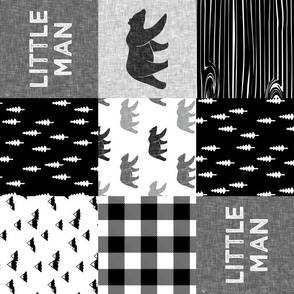 little man with bears -  patchwork quilt top || monochrome (9