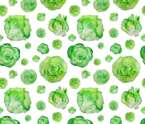 lettuce pattern on white fabric by danielleandco on Spoonflower - custom fabric