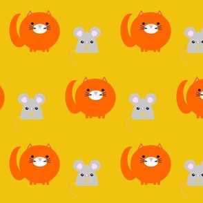 Cat and Mouse on Mustard Yellow