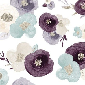Purple, Teal, & Silver Watercolour Floral - Large Scale