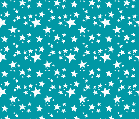 Scattered Doodle Stars on Teal fabric by thewellingtonboot on Spoonflower - custom fabric