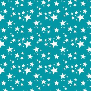 Scattered Doodle Stars on Teal