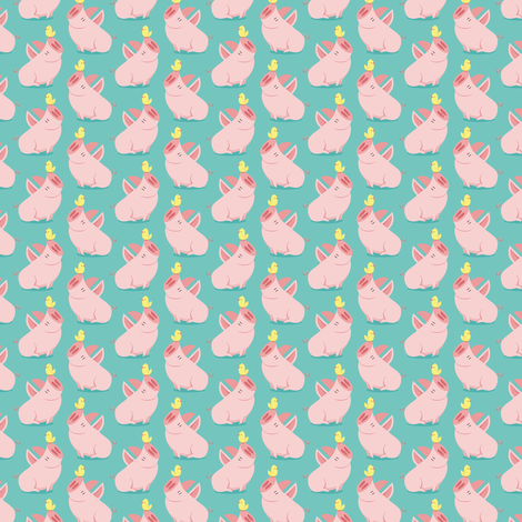 Tiny big pig and little bird fabric by petitspixels on Spoonflower - custom fabric