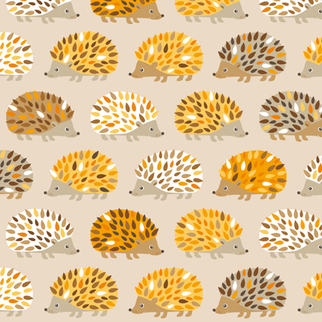 hedgehog fall fabric by heleenvanbuul on Spoonflower - custom fabric