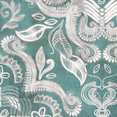 Teal and grey dirty denim textured boho print large fabric by micklyn on Spoonflower - custom fabric