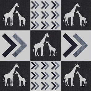 Cheaters Quilt 6in squares, Denim Giraffe Quilt